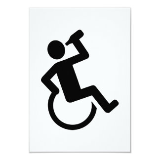Wheelchair drinking 3.5x5 paper invitation card