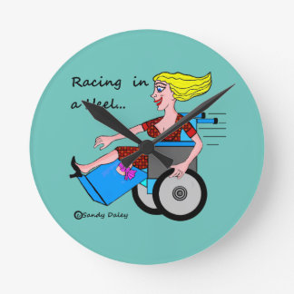 Wheelchair Girl in Heel Amputee tick tock clock