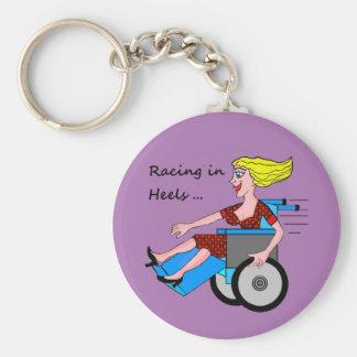 Wheelchair Girl in Heels Basic Round Button Key Ring