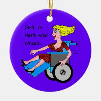 Wheelchair Girl in Heels Round Ceramic Decoration