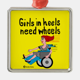 Wheelchair Girl in Heels Silver-Colored Square Decoration