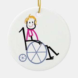 Wheelchair Kid Round Ceramic Decoration