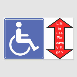 """Wheelchair Lift in Use"" Rectangular Sticker"
