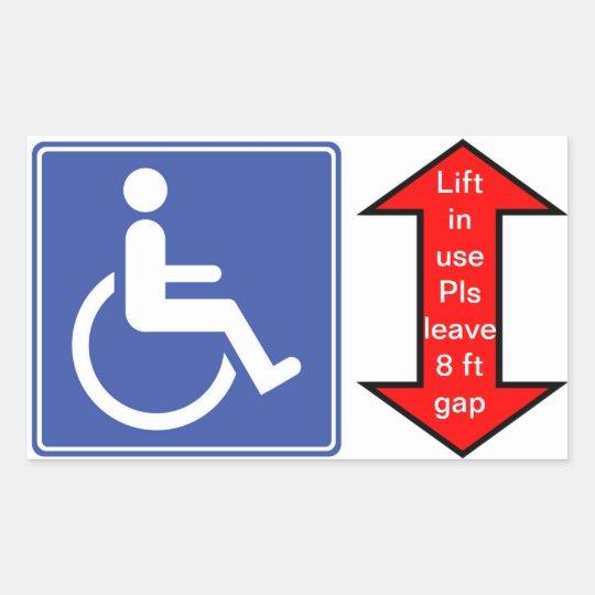 """Wheelchair Lift in Use"" Rectangular Sticker"