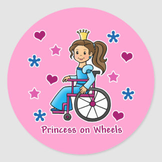 Wheelchair Princess Classic Round Sticker