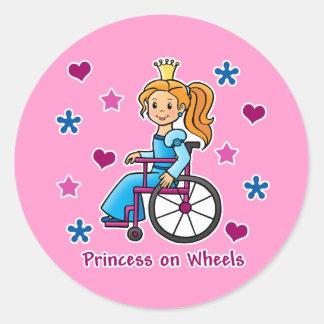 Wheelchair Princess Round Sticker