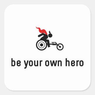 Wheelchair Racing Hero Square Sticker