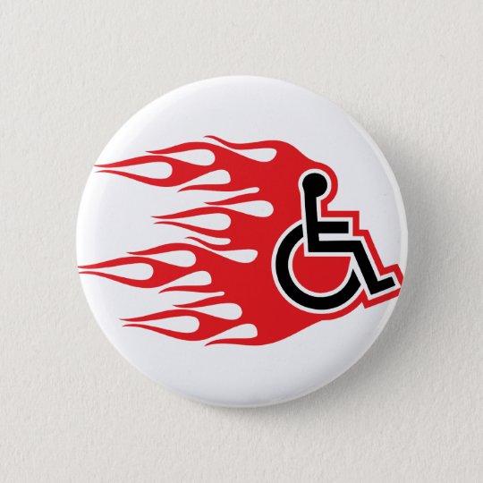 Wheelchair rocket flames 6 cm round badge