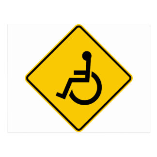 Wheelchair Traffic Highway Sign Post Card