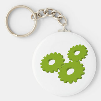 Wheels inside clock basic round button key ring