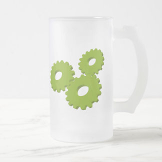 Wheels inside clock frosted glass mug