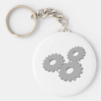 Wheels inside clock basic round button key ring