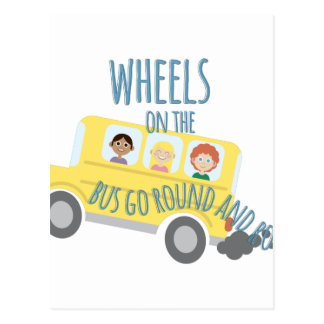Wheels On Bus Postcard