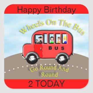 Wheels on the Bus Red Label Sticker Cake Topper