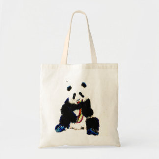 When a panda catches a rainbow... tote bag