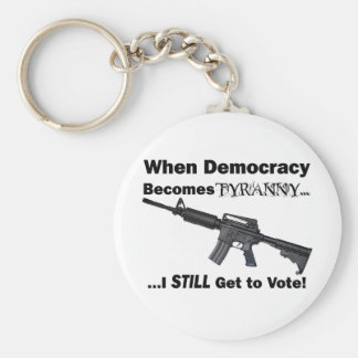 When Democracy Becomes Tyranny... Basic Round Button Key Ring