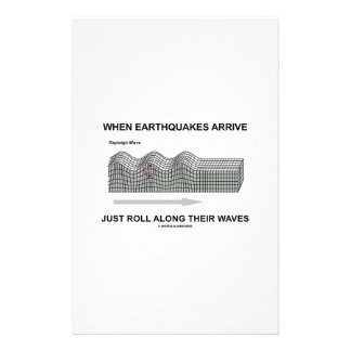 When Earthquakes Arrive Just Roll Along Waves Customised Stationery