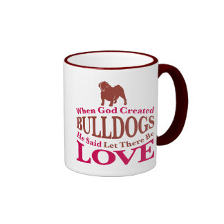 When God Created Bulldogs Ringer Mug