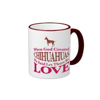 When God Created Chihuahuas Ringer Mug