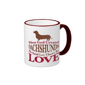 When God Created Dachshunds Ringer Mug