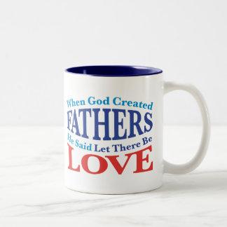 When God Created Fathers Two-Tone Mug