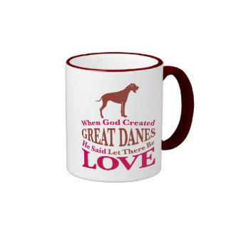 When God Created Great Danes Ringer Mug