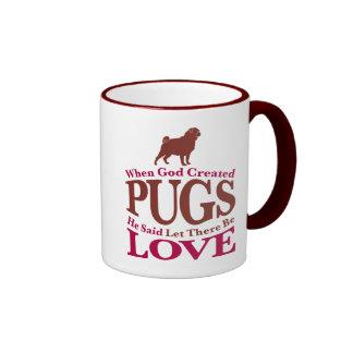 When God Created Pugs Ringer Mug