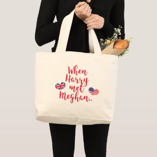 When Harry met Meghan | Fun Royal Wedding Large Tote Bag