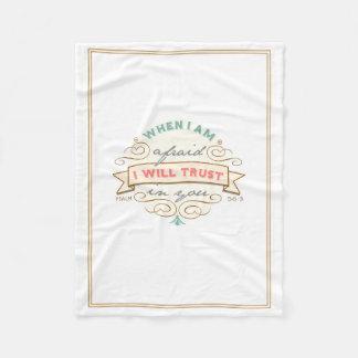 When I Am Afraid, Vintage Scripture Fleece Blanket