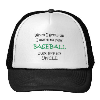 When I grow up Baseball text only Hats