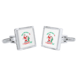 When I think about you I touch my Elf Silver Finish Cuff Links
