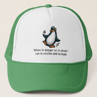 When in danger Funny Penguin Trucker Hat