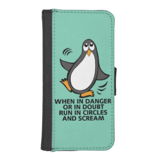 When in Danger or in Doubt  Funny Penguin Graphic iPhone SE/5/5s Wallet Case