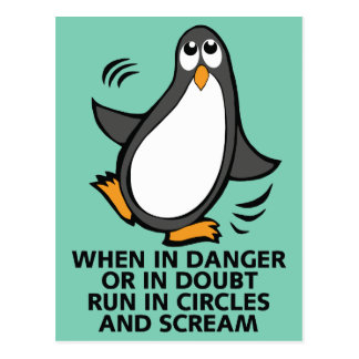 When in Danger or in Doubt  Funny Penguin Graphic Postcard