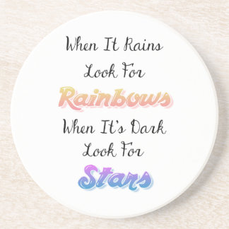 When It Rains Look For Rainbows, Inspirational Beverage Coasters