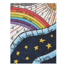 When It Rains Look For Rainbows Postcard at Zazzle