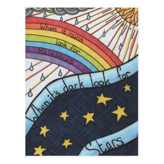 When it rains look for rainbows postcard