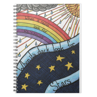 When it rains look for rainbows spiral notebook