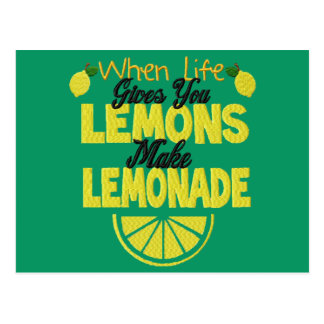 When Life Gives You Lemons (green background) Postcard