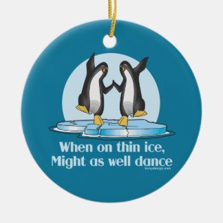 When On Thin Ice Penguins Funny Design Christmas Ornament