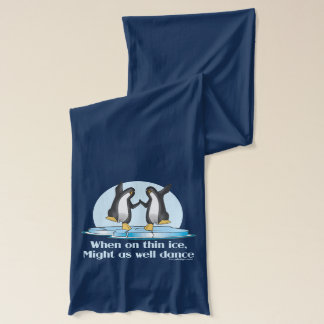 When On Thin Ice Penguins Funny Design Scarf