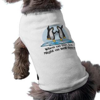 When On Thin Ice Penguins Funny Design Sleeveless Dog Shirt