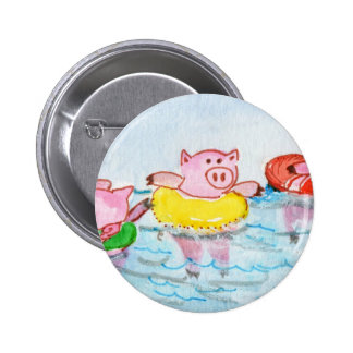 When Piglets Float  - Swimming Pigs 6 Cm Round Badge