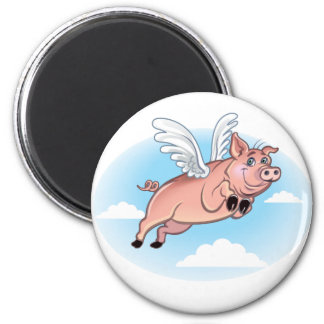 When Pigs Fly, Fun Happens 6 Cm Round Magnet