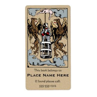 When Pigs Fly Medieval Woodcut Bookplate Label Shipping Label