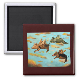 When Pigs Fly Square Magnet