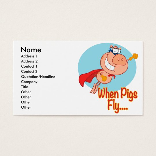 when pigs fly super hero flying piggy pig cartoon business card