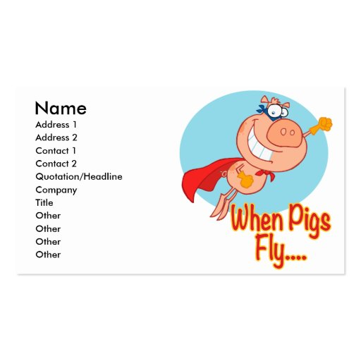 when pigs fly super hero flying piggy pig cartoon pack of standard business cards