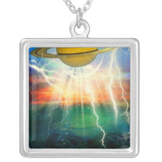 When Saturn Ruled The World Square Pendant Necklace