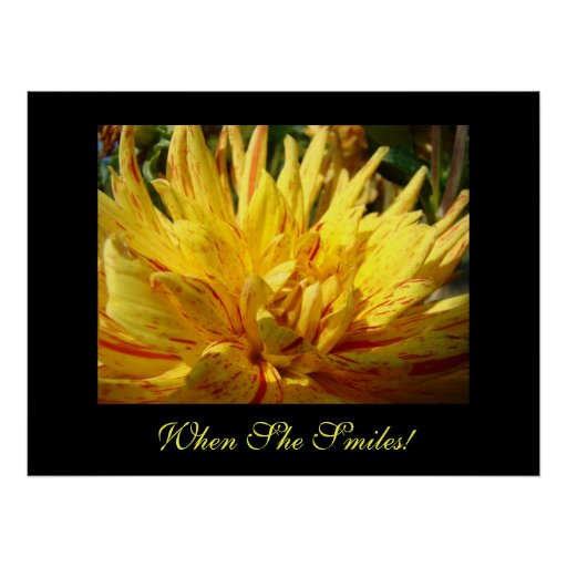 When She Smiles! Art Print Yellow Dahlia Flower